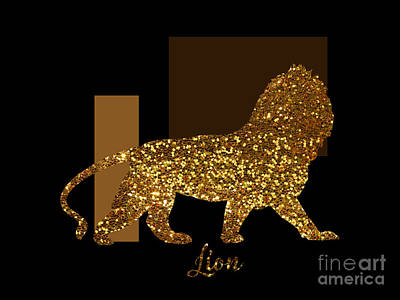Gold Lame Digital Art - Golden Lion Modern Composition, Gold Black Brown by Tina Lavoie