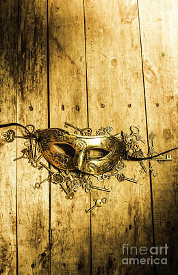 Golden Masquerade Mask With Keys Print by Jorgo Photography - Wall Art Gallery