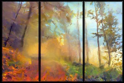 Tryptych Painting - Golden Mist Landscape by Georgiana Romanovna