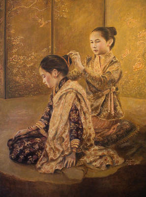 Laos Painting - Golden Moment by Sompaseuth Chounlamany