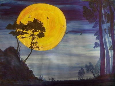 Painting - Golden Moon by Archana Saxena