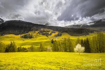 Switzerland Mixed Media - Golden Mountains. Switzerland by Mikhail Golovastikov