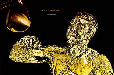 Joe Frazier Digital Art - Golden Muhammad Ali  by Brian Reaves