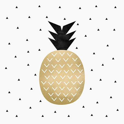 Pineapple Digital Art - Golden Pineapple by Elisabeth Fredriksson