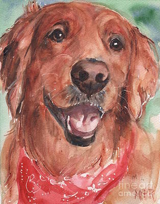 Golden Retriever Dog In Watercolori Print by Maria's Watercolor