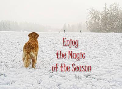 Golden Retrievers Photograph - Golden Retriever Dog Magic Of The Season by Jennie Marie Schell
