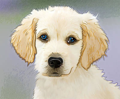 Purebred Digital Art - Golden Retriever Puppy by EricaMaxine Price