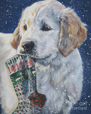 Golden Retriever With Xmas Stocking Print by Lee Ann Shepard