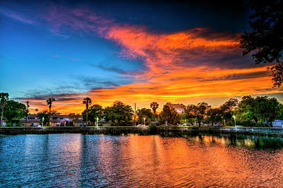 Benches Photograph - Golden Sky Over Davis Island by Marvin Spates