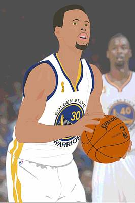Golden State Warriors - Stephen Curry - 2015 Print by Troy Arthur Graphics