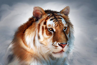 Tiger Digital Art - Golden Tiger by Julie L Hoddinott