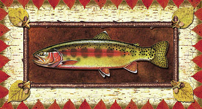 Flyfishing Painting - Golden Trout Lodge by JQ Licensing