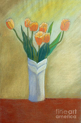 Golden Tulips Print by Norma Appleton