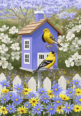 Jacaranda Tree Painting - Goldfinch Garden Home by Crista Forest