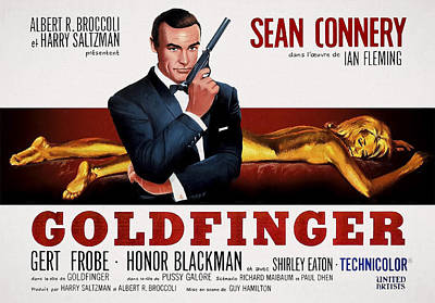 Broccoli Mixed Media - Goldfinger James Bond French Lobby Poster Painterly by Daniel Hagerman
