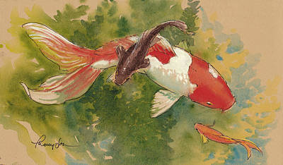 Koi Mixed Media - Goldfish Crossing by Tracie Thompson