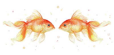 Animals Love Painting - Goldfish Love Watercolor by Olga Shvartsur
