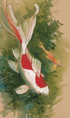 Koi Mixed Media - Goldfish Pair by Tracie Thompson