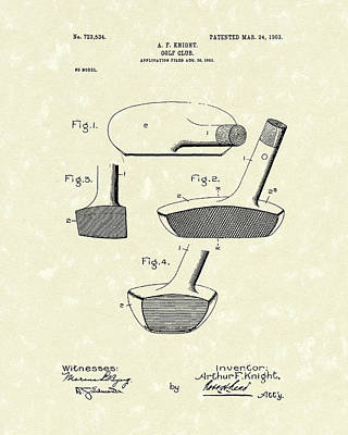 Knight Drawing - Golf Club 1903 Patent Art by Prior Art Design