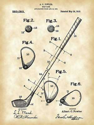 Old Digital Art - Golf Club Patent 1909 - Vintage by Stephen Younts
