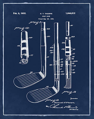 Golf Photograph - Golf Club Patent 1932 Blue by Bill Cannon