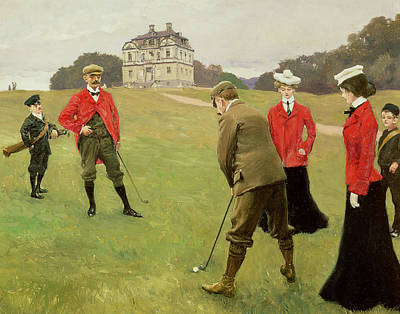Golf Players At Copenhagen Golf Club  Print by Paul Fischer
