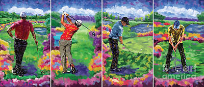 Tiger Woods Painting - Golfer All 4 by Tim Gilliland