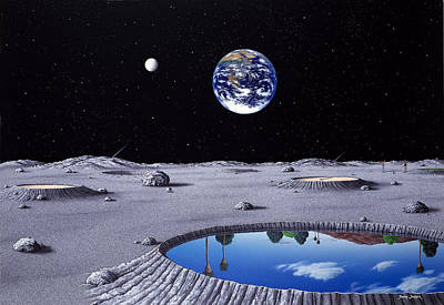 Golfing On The Moon Print by Snake Jagger