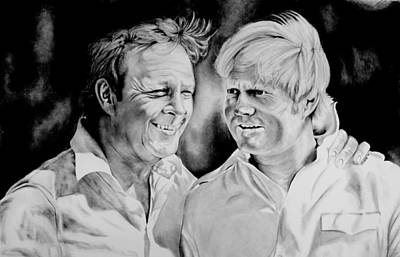 Arnold Palmer Drawing - Golf's Greatest Rivalry by Jake Stapleton