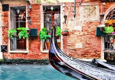 Gondola In Venice Print by Mel Steinhauer