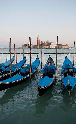Gondolas At Dusk Print by Italian School