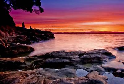 Gone Fishing At Sunset Original by Dr Bob Johnston