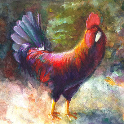 Gouache Painting - Gonzalez The Rooster by Talya Johnson