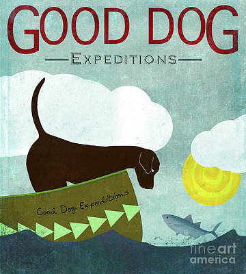 Chocolate Labrador Painting - Good Dog Expeditions, Dog On A Lake Meeting A Fish by Tina Lavoie