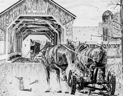 Amish Drawing - Good Old Days by Philip Mack