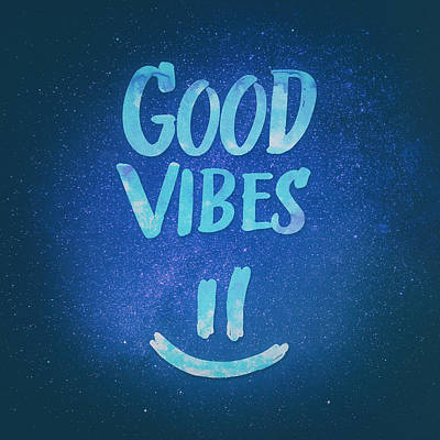 Good Vibes  Funny Smiley Statement Happy Face Blue Stars Edit Print by Philipp Rietz