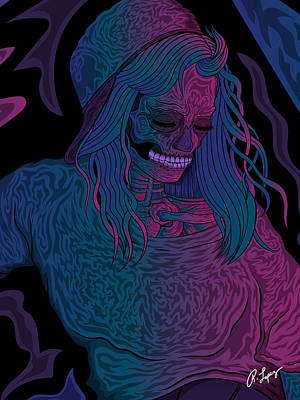 Print featuring the drawing Good Vibes Skelegirl by Raphael Lopez
