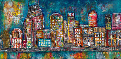 Cumberland River Painting - Goodnight Nashville by Kirsten Reed