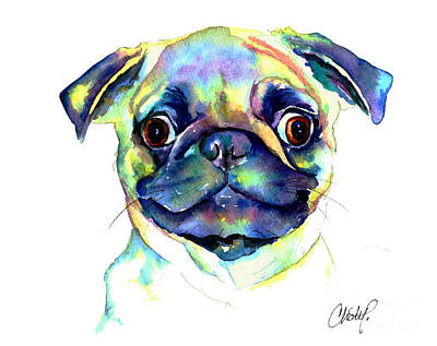 Fawn Pug Painting - Google Eyed Pug by Christy  Freeman