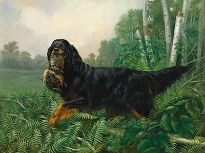 Gordon Setter In A Landscape Print by Alexander Pope