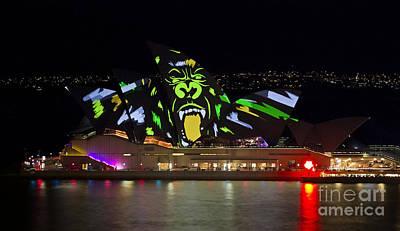 Photograph - Gorilla Sails - Sydney Opera House - Vivid Festival by Bryan Freeman