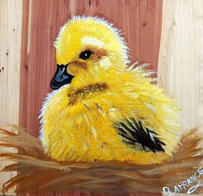 Gosling On Cedar Print by Debbie LaFrance