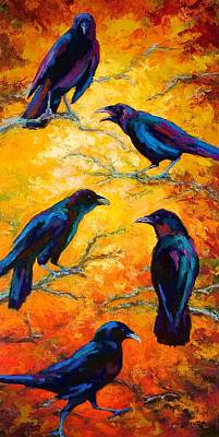 Crows Painting - Gossip Column II by Marion Rose