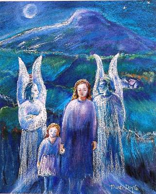 Night Angel Painting - Gossiping Guardian Angels  by Trudi Doyle