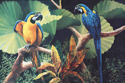 Parrot Painting - Gossips by Laurie Hein