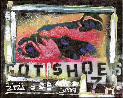 Folk Art Mixed Media - Got Shoes by Robert Wolverton Jr