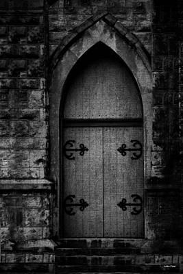 Gothic Door Memphis Church Bw Print by Lesa Fine