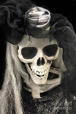 Gothic Fantasy Photograph - Gothic Spooky Halloween Skeleton Art - Surreal Dark Spooky Skeleton Halloween Art by Kathy Fornal