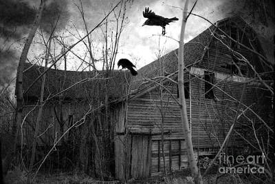 Gothic Surreal Haunting Old Barn With Crows Ravens - Spooky Gothic Black White Ravens Flying Print by Kathy Fornal