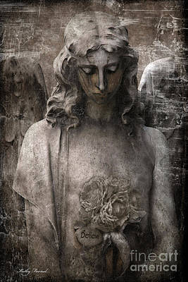 Religious Angel Art Photograph - Gothic Surreal Mourning Angel - Inspirational Angel Art - Believe  by Kathy Fornal